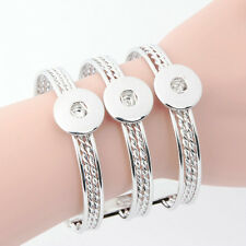 Hot Chunk Punk Metal Bangle bracelets drill fit for Noosa Snaps Charm Button A-2