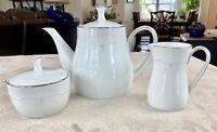 Noritake Whitebrook 6441 Platinum Trim - Tea/Coffee Pot - Creamer and Sugar