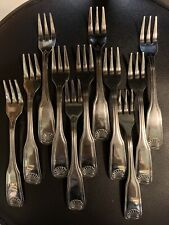 11 Seafood / Fruit Forks Cambridge SHELL Stainless Silverware Flatware