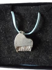 """Piano TG2 English Pewter On 18"""" Blue Cord Necklace"""