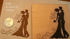 P58  Wedding, bride and groom silhouette rubber stamp
