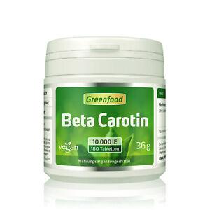 Greenfood Beta Carotin, 10.000 iE, extra hochdosiert, 180 Tabletten – vegan