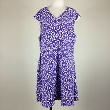 Marc Bouwer Unlimited Women Dress 3X Sheath V Neck Sleeveless Purple White Print