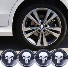 "(PACK OF 4) 3D DOME Metal Punisher Wheel Center Cap Decals Emblems Sticker 2.22"""