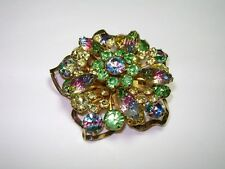 Vintage Large Estate Watermelon Rhinestone Faceted Layered Flower Pin Brooch