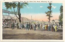 Amusement Zone at State Fair Park in Wheeling Wv Postcard
