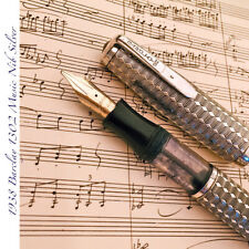 1938 BARCLAY 1302 MUSIC NIB FLEX OBB SILVER GUILLOCHE LARGE VINTAGE FOUNTAIN PEN