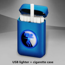 New Cigarette Case Box with USB Electric Lighter LED Logo Electronic Plasma Arc