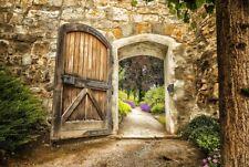 Bilder Wandbild Keilrahmen Leinwand  Burg Tor Tür Garten Blumen Art. 7811975