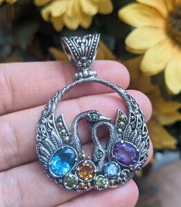 Robert Manse Bali Designs HSN Swan Collection Gemstone 925 18k Gold Pendant