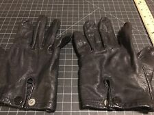 Vintage Leather Driving Perforated Gloves Black England