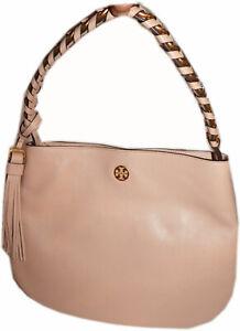 $598 Tory Burch Brooke Hobo Bag Pebble Leather Shoulder Purse in Pink Salt