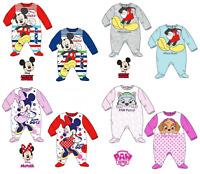 Baby Boys Girls Character 100% Cotton Sleepsuit Babygrow Pyjamas Minnie Mickey