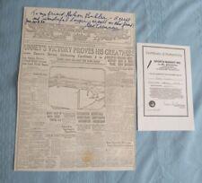 SIGNED ORIGINAL W/COA BOXING GENE TUNNEY PERSONAL INSCRIPTION ON NEWSPAPER PHOTO