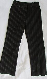 Girls 8 Byer girl dress pant trousers black/white stripes w/fasteners