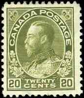 Canada #119 mint F-VF OG H 1925 King George V 20c olive green Admiral Dry Print