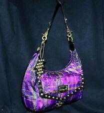 Betsey Johnson Betseyville Purple Studded Pretty in Plaid Hobo Shoulder Bag