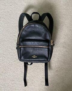 Coach Mini Charlie Black Pebbled Leather Backpack