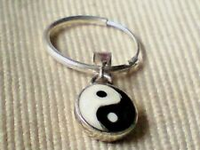 STERLING SILVER & 10mm ROUND YIN YANG PENDANT on a 15mm HOOP EARRING £8.50 nwt