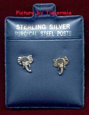 TINY ELEPHANT STERLING SILVER EARRINGS WITH SURGICAL STEEL POSTS