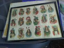 Old Antique 18 Sovereign Tokio Cigarettes Native American Indian Chiefs Framed