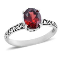 925 Sterling Silver Garnet Solitaire Ring Jewellery Gift for Women Size 8 Ct 2