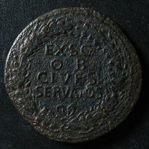 Claudius Sestertius 41-50 EX S C OB CIVES SERVATOS Rome RIC 96 Sesterce Claude