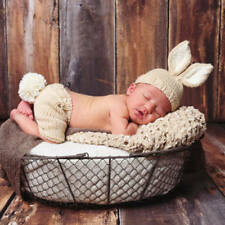 Newborn Baby Girl Boy Rabbit Cap Pants Crochet Costume Photography Prop Photo