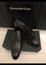 New $1295 Ermenegildo Zegna Premium Oxford Shoes Derby Con Fiore Black 11 US