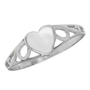 Baby, Childrens Kids Ladies Heart Filigree Signet Ring, 925 Sterling Silver