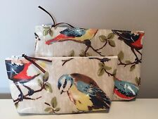 LARGE only Make Up Bag made with Cath Kidston Large Birds Oil Cloth