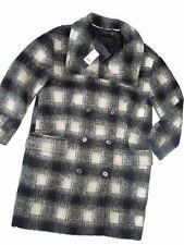 BANANA REPUBLIC womens Coat Jacket PEACOAT Wool Black White Small S