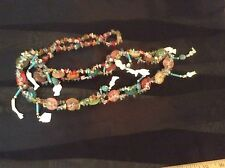 """Milagros Necklace 18"""" Hand Made Multi Color Glass Chips 12 Silver Color Milag Os"""