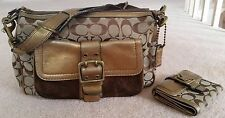 Coach Legacy Signature Hobo Handbag Purse + Wallet: Bronze Metallic Leather 1496