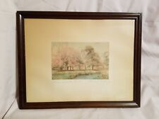 "Early Signed WALLACE NUTTING ""Blossoms at the Bend"" Landscape Hand Tinted Framed"