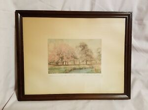 """Early Signed WALLACE NUTTING """"Blossoms at the Bend"""" Landscape Hand Tinted Framed"""