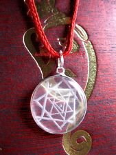 BEAUTIFUL HANDMADE CRYSTAL QUARTZ SPHATIK SRI SHRI YANTRA CHAKRA PENDANT ~20 MM
