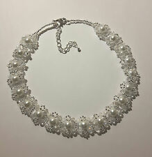 Pearl & Crystal Beaded CHOKER necklace VINTAGE style WHITE glass 13""