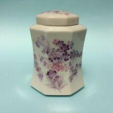 RETRO GINGER JAR JAPAN OCTAGONAL LIDDED PORCELAIN Purple Flowers on White