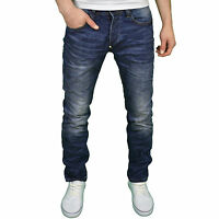 Foray Mens Designer Branded Regular Fit Straight Leg Darkwash Jeans, BNWT