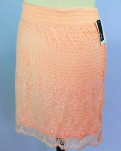 NWT Lapis Peach Plus Size 3X Skirt Crocheted Lace Shell Lined Comfort Waist