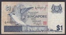 "SINGAPORE 1976-80 $1 (SC 9), ""F"" PREFIX, FAIR"