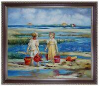 Ölbild, Kinder, Mädchen am Strand, Ölgemälde HANDGEMALT,Gemälde 50x60cm