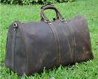 Men's Brown Vintage Genuine Leather Cowhide Travel Luggage Duffle Gym Bags Tote