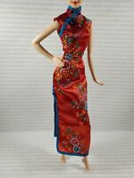 EVENING W ~ BARBIE DOLL MODEL MUSE LUNAR NEW YEAR RED BLUE CHEONGSAM GOWN DRESS