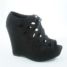 Women's Lace Up Strappy Caged Open Toe Wedge Bootie Sandal Shoes Size 5 - 10 NEW