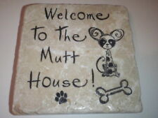 Unusual Handmade Stone Tile Coaster/Welcome To Mutt House/Paw Prints/Gifts/Xmas