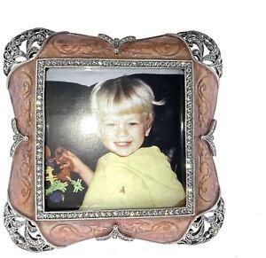 Art Deco Picture Frame Bejeweled w Swarovski Crystals Photo Frame Pink Mauve