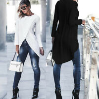 Cross Shirt Blouse T-Shirt High Womens Asymmetrical Sleeve Tunics Low Tops Long
