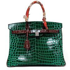 Birkin Style 35 cm Top Handle Tote in Crocodile Green
